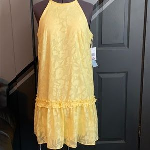 London Times A-line buttercup yellow sheer lined 6